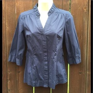 Ann Taylor, Navy Blue, 3 Quarter Sleeve Blouse